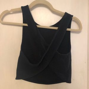 Black open back crop top